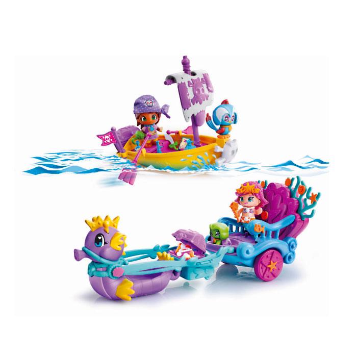 Pinypon. Carruaje de Sirenas y Barco Pirata